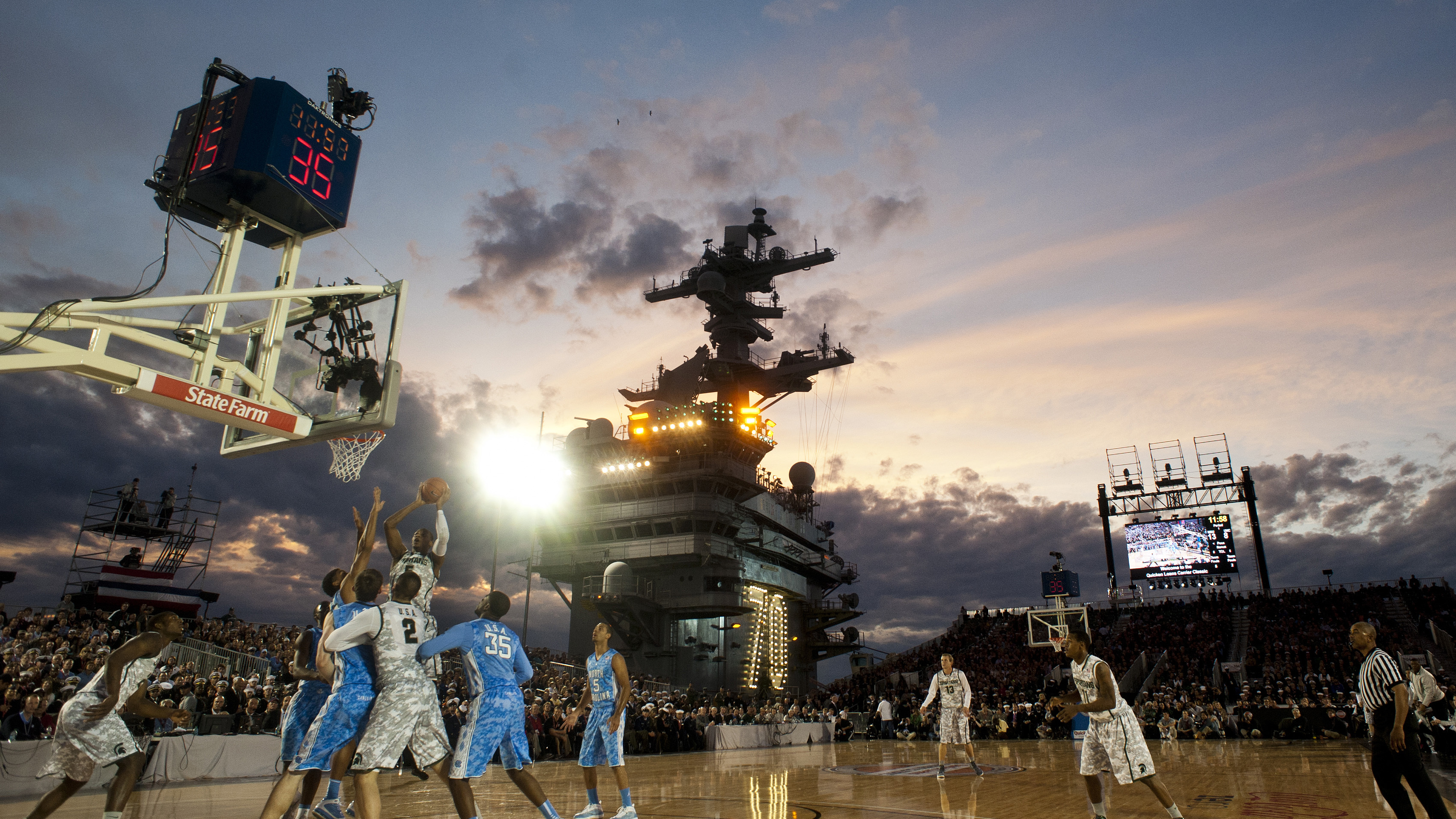 Aircraft carrier basketball game 2016 baby
